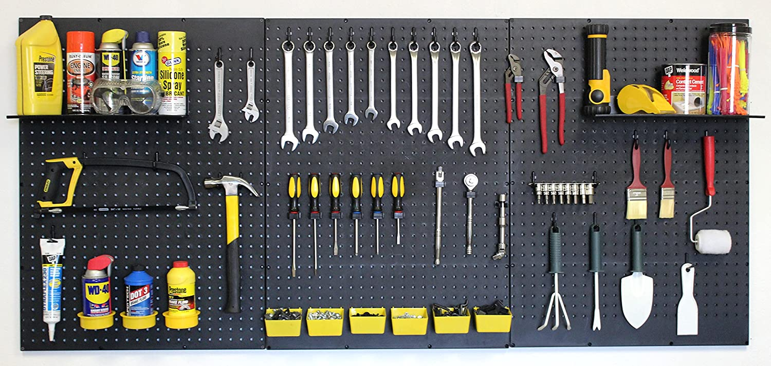 WallPeg pegboard panels, shelves, bins, locking peg hooks for tool storage kit 72 W-B (Black) by WallPeg B01CMZDB5Q 16741 ブラック ブラック