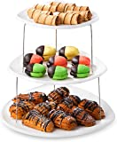 Collapsible Party Tray, 3 Tier - The Decorative Plastic Appetizer Trays Twist Down and Fold Inside for Minimal Storage…
