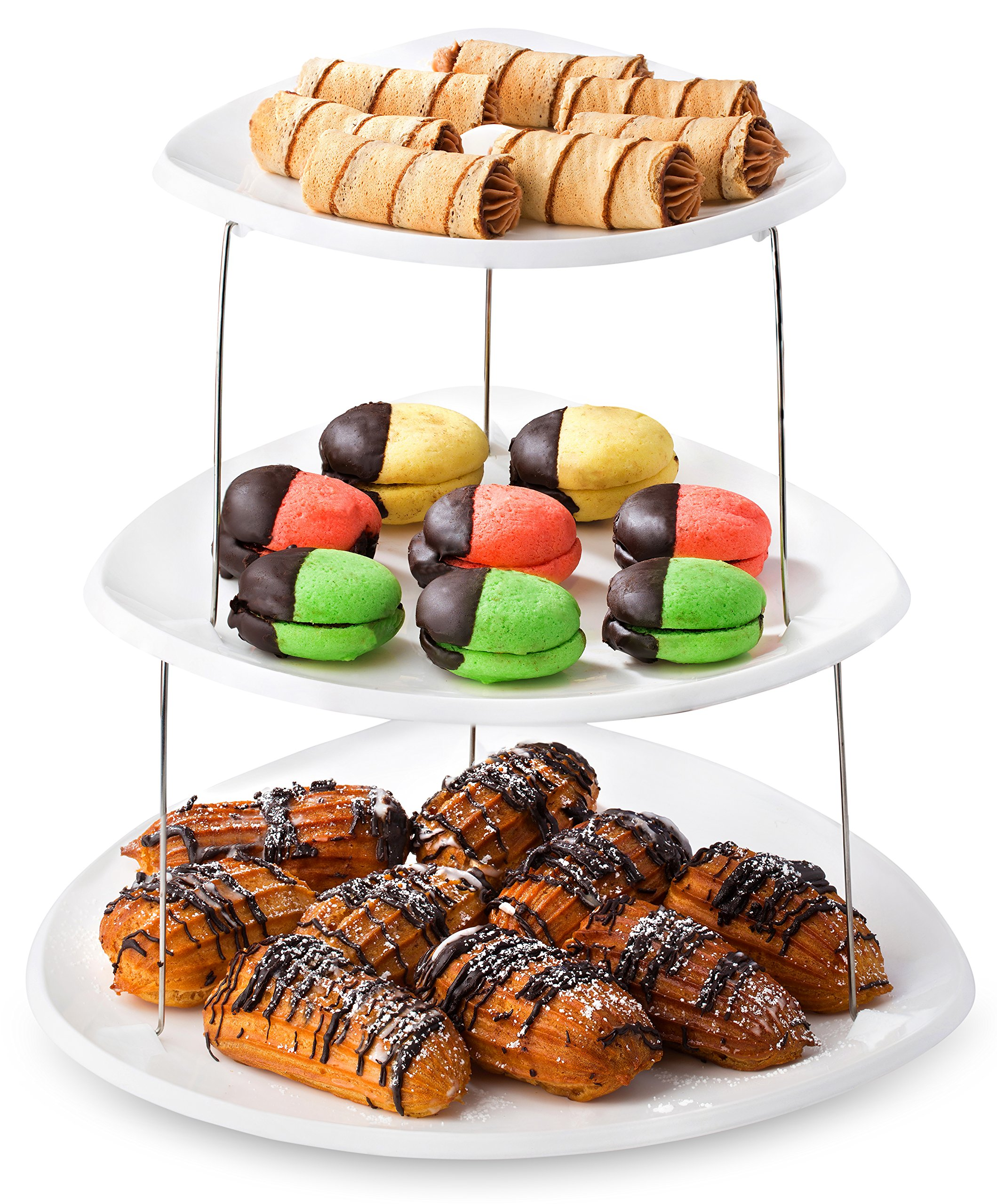 Twist Fold Party Tray, 3 Tier - The Decorative Plastic Appetizer Trays Twist Down and Fold Inside for Minimal Storage Space. An Elegant Tray for Serving Sandwiches, Cake, Sliced Cheese and Deli Meat. by Masirs