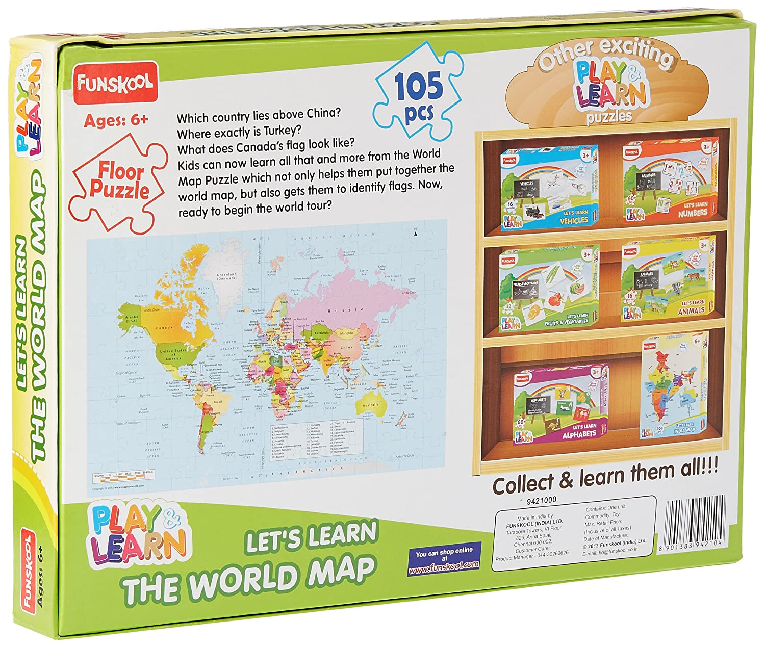 Buy funskool world map puzzles online at low prices in india buy funskool world map puzzles online at low prices in india amazon gumiabroncs Choice Image