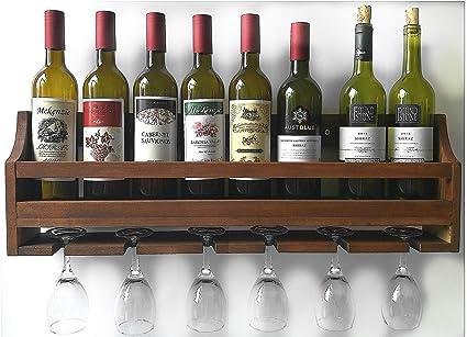 Amazoncom X Dodd Super Solid Wood Wine Rack Wall Mounted Stemware