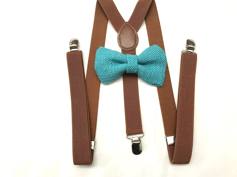 a6f676d2bde8 Amazon.com: Teal Burlap bow tie for Mens Dark brown Suspenders Groomsmen  Rustic wedding Ring bearer Outfit mens bow tie suspender set mens teens:  Clothing
