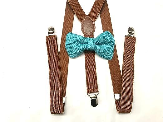 Amazon Com Teal Burlap Bow Tie For Mens Dark Brown Suspenders
