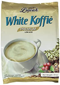 LUWAK White Koffie LOW ACID (3in1) Instant Coffee 13.5oz, Pack of 20 sachets