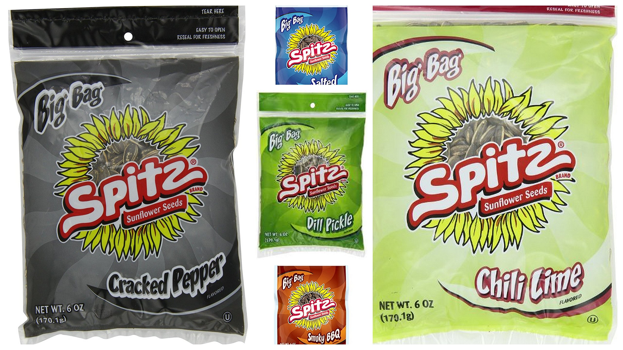 New Spitz Sunflower Seeds Variety Bundle, 6 oz (Pack of 10) includes 2-Bags Salted Flavor + 2-Bag Cracked Pepper + 2-Bags BBQ Flavor + 2 Bags Dill Pickle + 2-Bags Chili Lime by Spitz