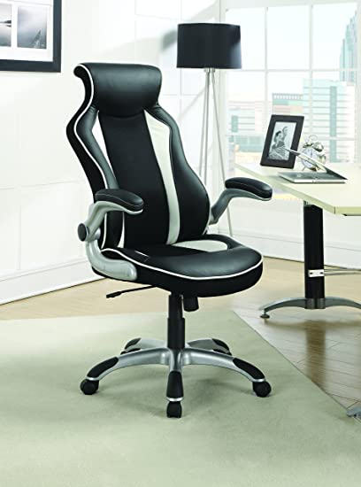 amazon com coaster contemporary black white office chair with race