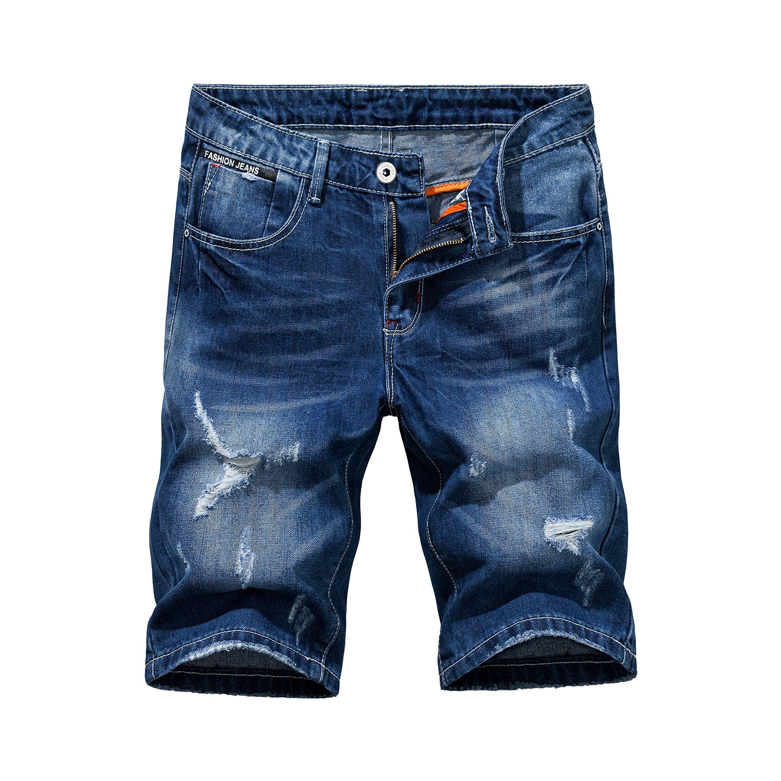 Heart Yuxuan Men's Fashion Slim Casual Denim Short (38, Dark Blue)