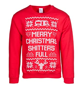 Mens Merry Christmas Shitter's Full Ugly Sweater: Amazon.ca ...