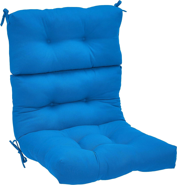 AmazonBasics Tufted Outdoor High Back Patio Chair Cushion- Blue