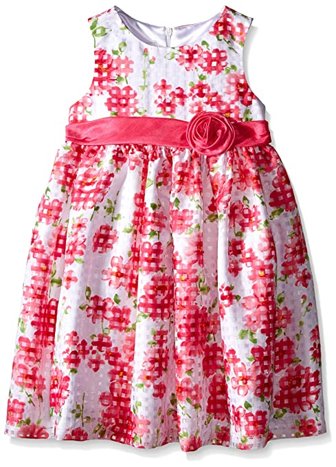 American Princess Little Girls' White/Pink Floral Shantung Dress, 6X
