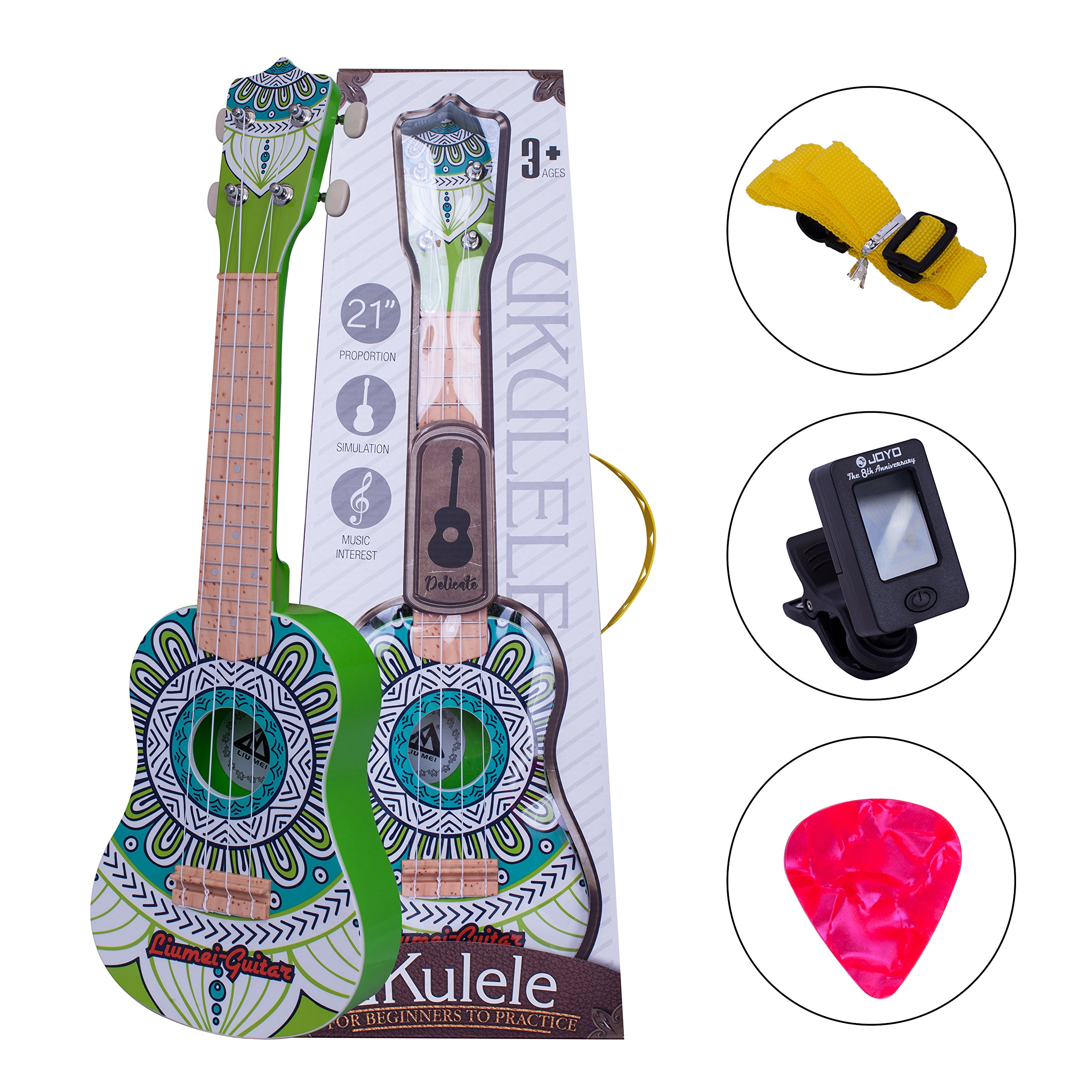 honsing Soprano Ukulele Ukulele Starter kit Green Ukulele for Beginner with Tuner Pick Strap Kids Guitar by honsing (Image #1)