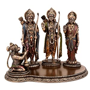 Aone India Polyresin Lord Ram Darbaar Ram Sita Laxman Hanuman Ji Statue for Home Good Luck Gift, Bronze