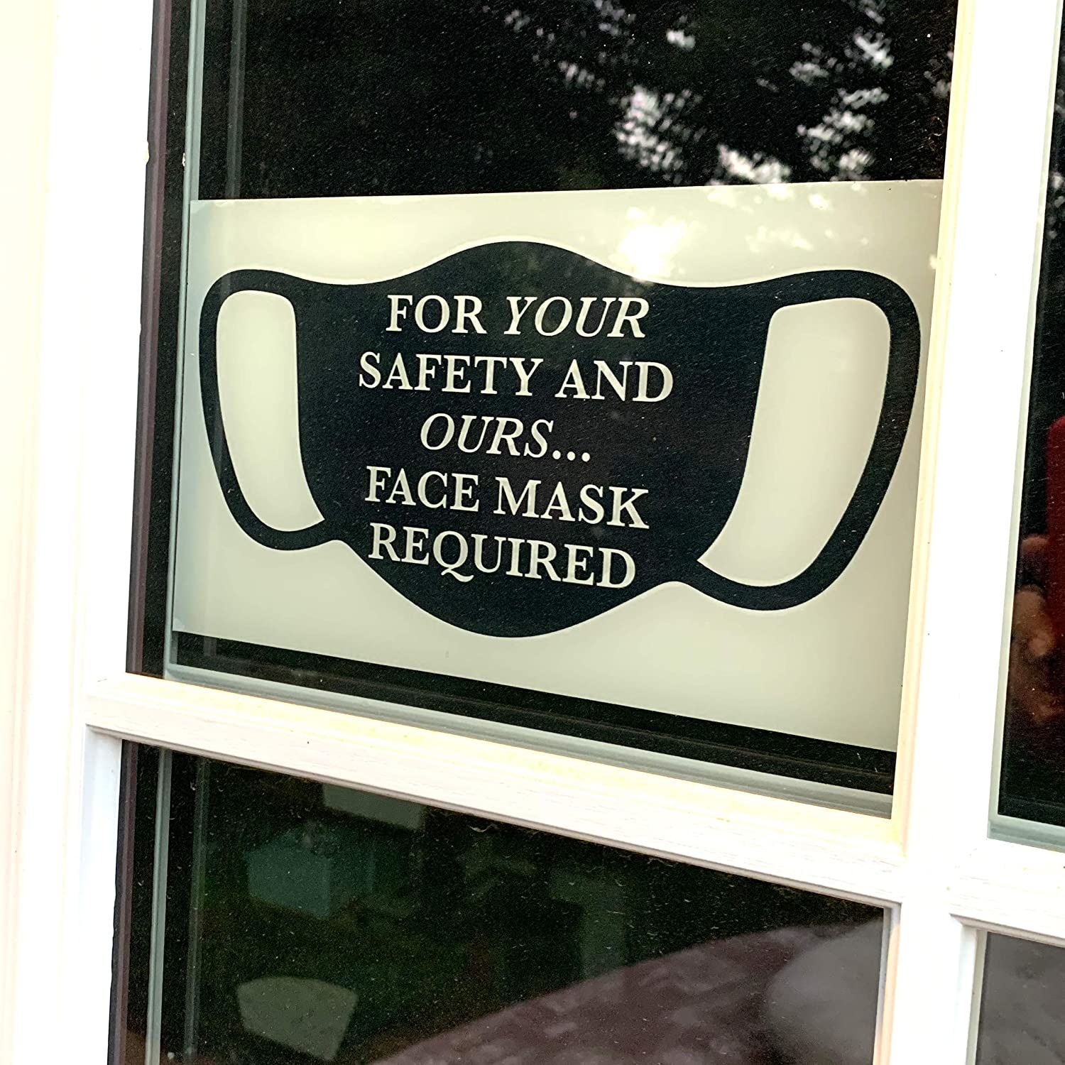 WHITE WITH BLACK AND BLACK WITH WHITE FOR EASY VISIBILITY COVID-19 SAFETY USE INSIDE OR OUTSIDE GLASS 10x6 DELUX 2 SIDED MASK REQUIRED SIGN