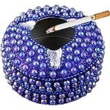 Ashtray Round Beads Metal Vintage Design Ash Tray Cigarette Decorative - 4 Inch (Gold)