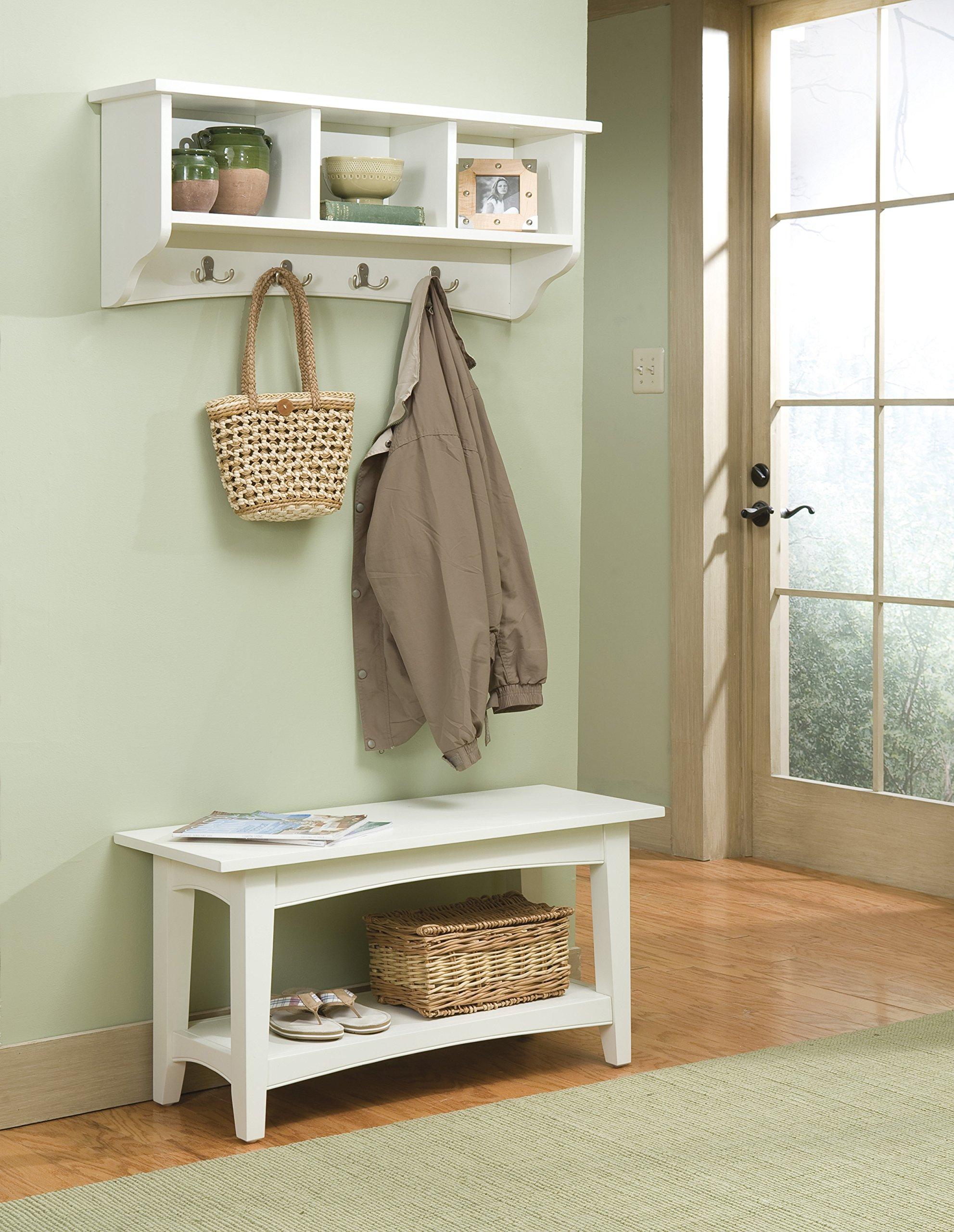 Alaterre Shaker Cottage Storage Coat Hook and Bench Set, Ivory