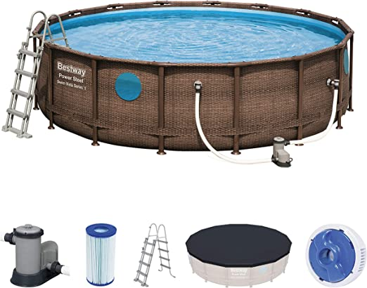 Bestway 56725 Piscina, Azul, Marrón, 488 x 122 cm: Amazon.es: Jardín
