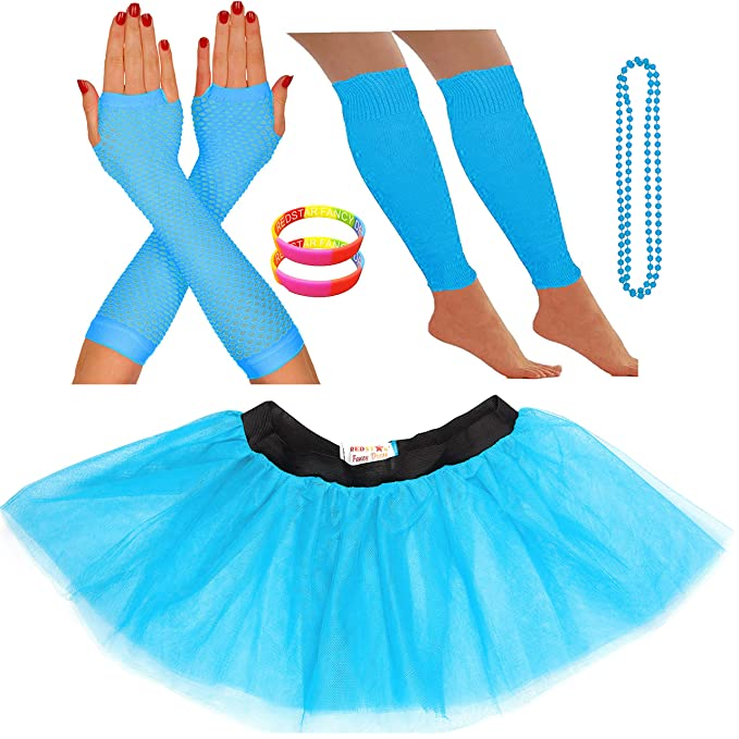 Neon Blue 3 Layer Tutu Skirt with Accessories for Women. Many Colours, Sizes 8 to 22