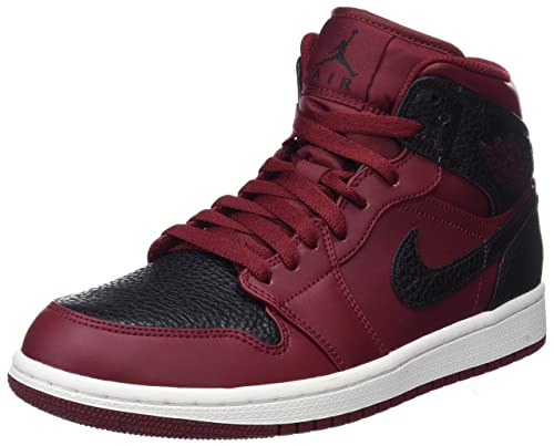 best sneakers a95ee ff50d Nike Air Jordan 1 Mid, Sneaker a Collo Alto Uomo, Rosso (Team Gym