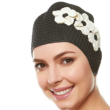 fba5f0433bd Beemo Swim Bathing Caps for Women & Girls - Black with White Flowers ...