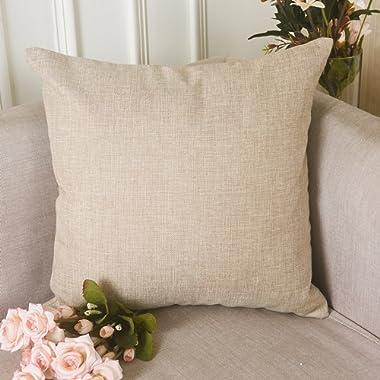 HOME BRILLIANT Burlap Solid Linen European Throw Pillow Sham Cushion Cover Bench, 24 x24 , Light Linen