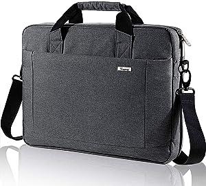 Voova Laptop Bag 15.6 15 14 Inch Briefcase, Expandable Computer Shoulder Messenger Bag Waterproof Carrying Case Handbag with Tablet Sleeve, Organizer for Men Women, Business Travel College School-Grey
