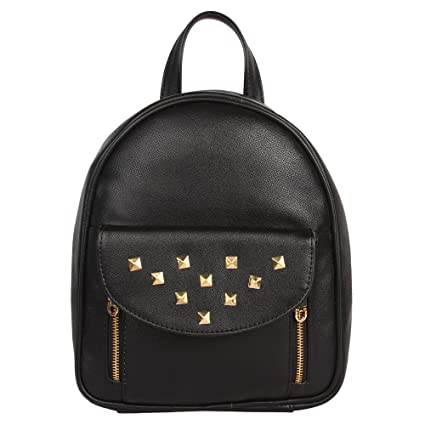 a8f0c3898fd2 Buy Lychee Bags Women s PU Black Casual Backpack Online at Low Prices in  India - Amazon.in