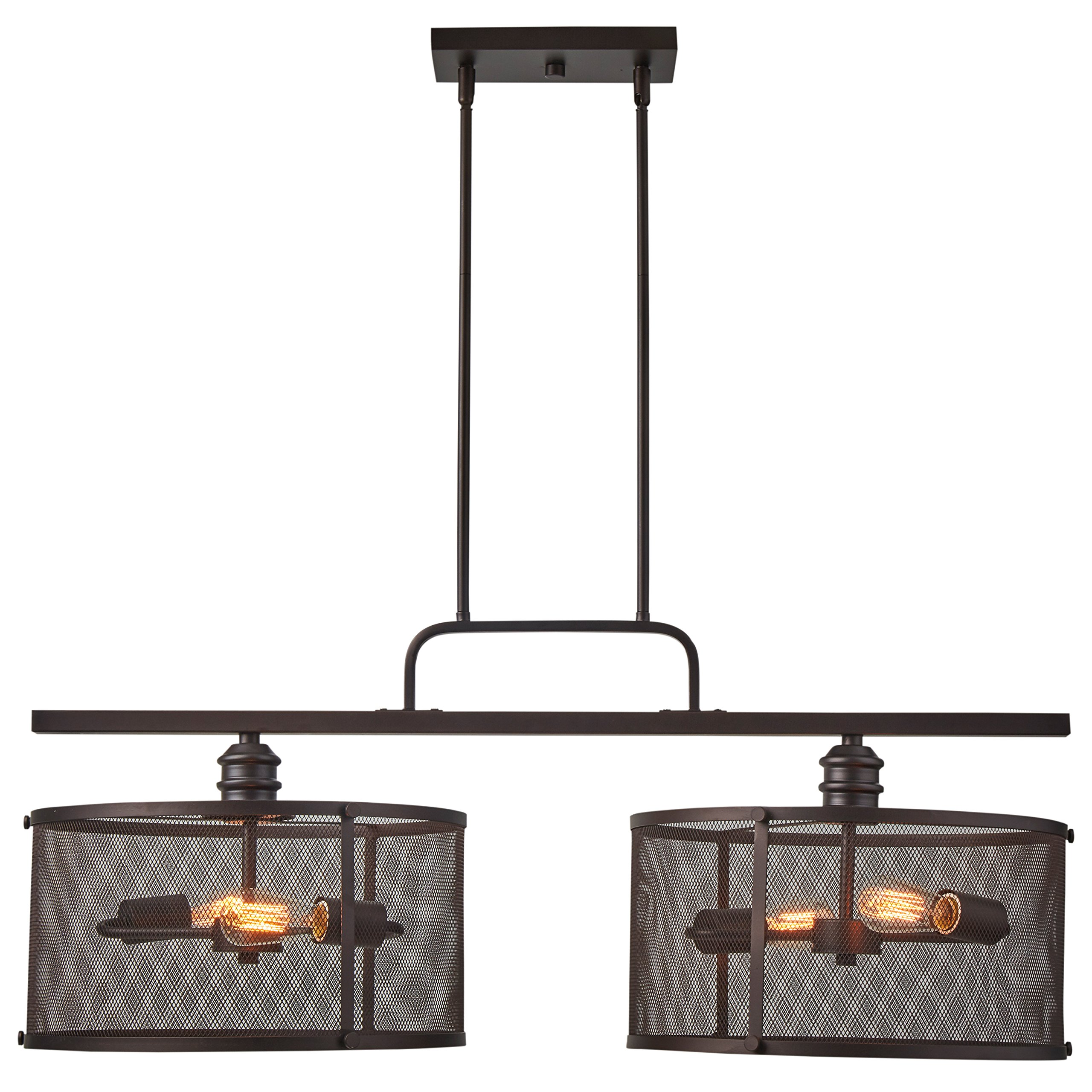 Stone & Beam Hobbs Double Pendant With Bulbs, 24'' to 66''H, Oil-Rubbed Bronze