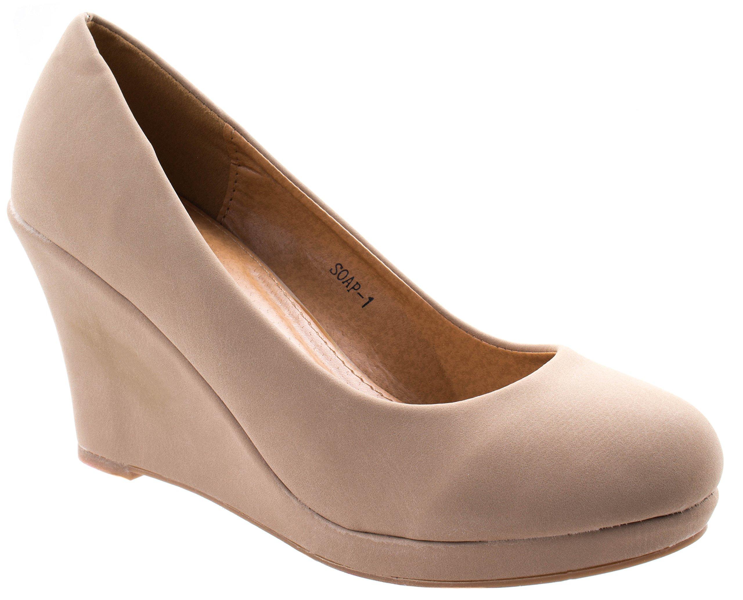 Top Moda Women's Soap-1 Beige Classic Almond Toe Slip On Low Wedge Heel Pumps 6 D(M) US