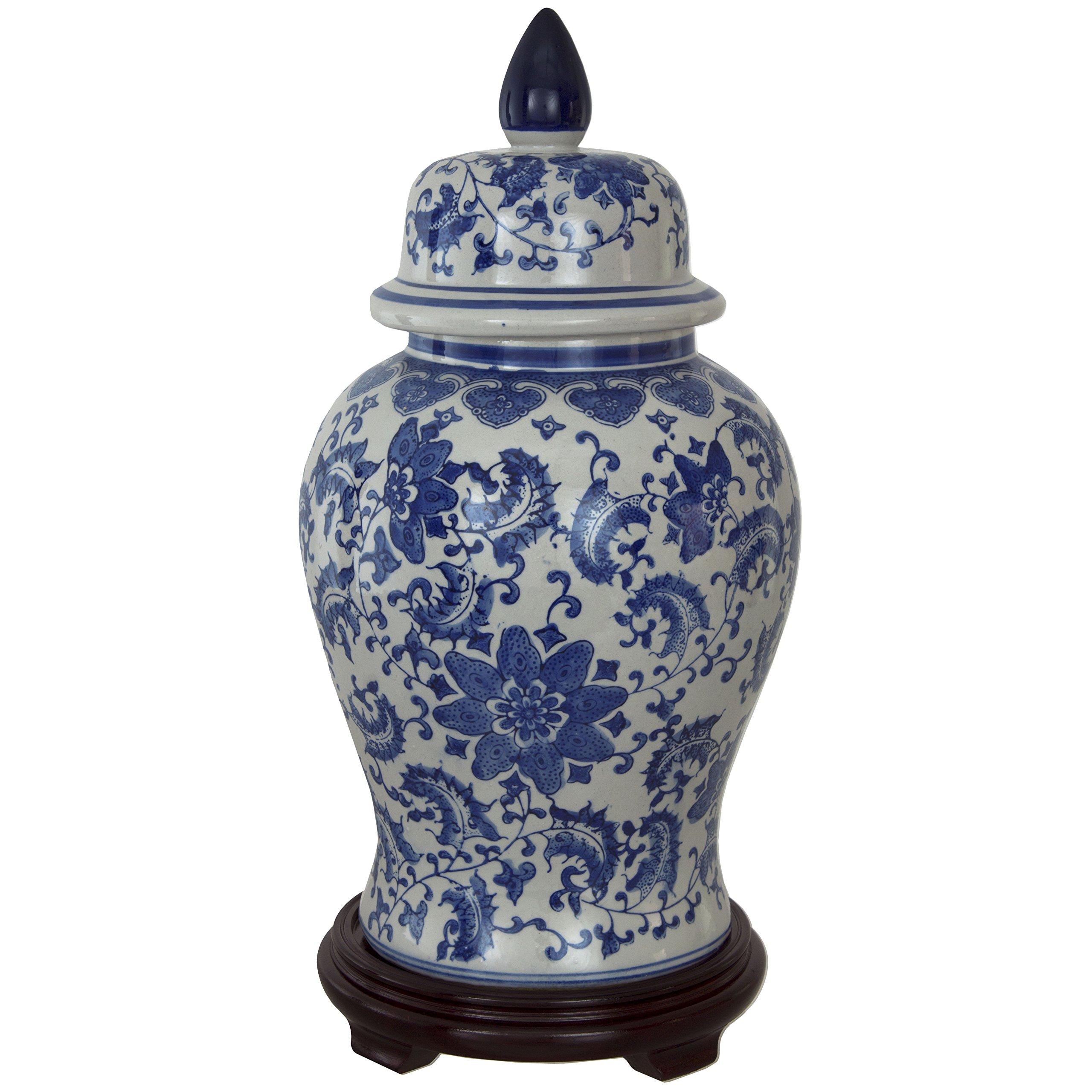 Oriental Furniture 18'' Floral Blue & White Porcelain Temple Jar