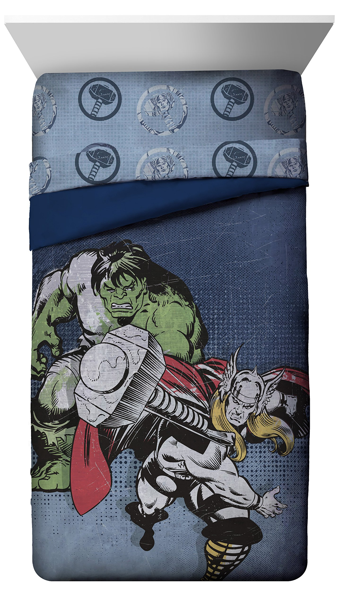 Jay Franco Thor Mighty Twin Reversible Comforter, Hulk Blue