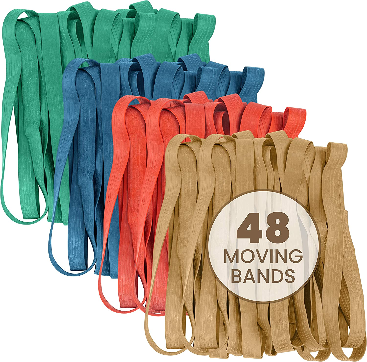 48 Pack Mover Furniture Rubber Bands - Extra Large Rubber Bands for Moving Blankets and Furniture - Variety of Sizes 25in, 30in, 36in & 42in - 48 Moving Bands Total - kitchentoolz
