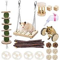 Sfcddtlg 18 PCS Hamster Chew Toys Set-Natural Wooden Hamster Teeth Care Molar Toys-Hamster Drinker Water Bottle for…