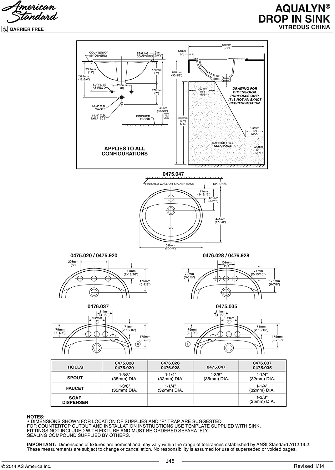 American Standard 0475.047.021 Aqualyn Self Rimming Countertop Sink with Center Hole Only and Tapered Edges, Bone