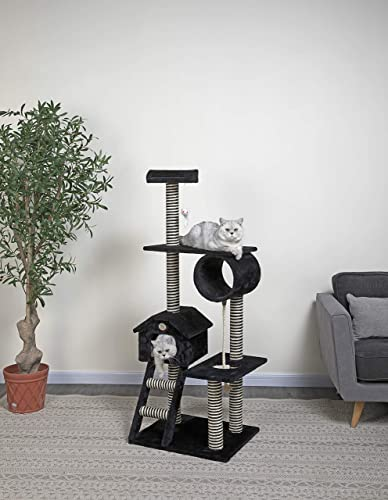 Go Pet Club Black 60 Cat Tree Condo with Ladder