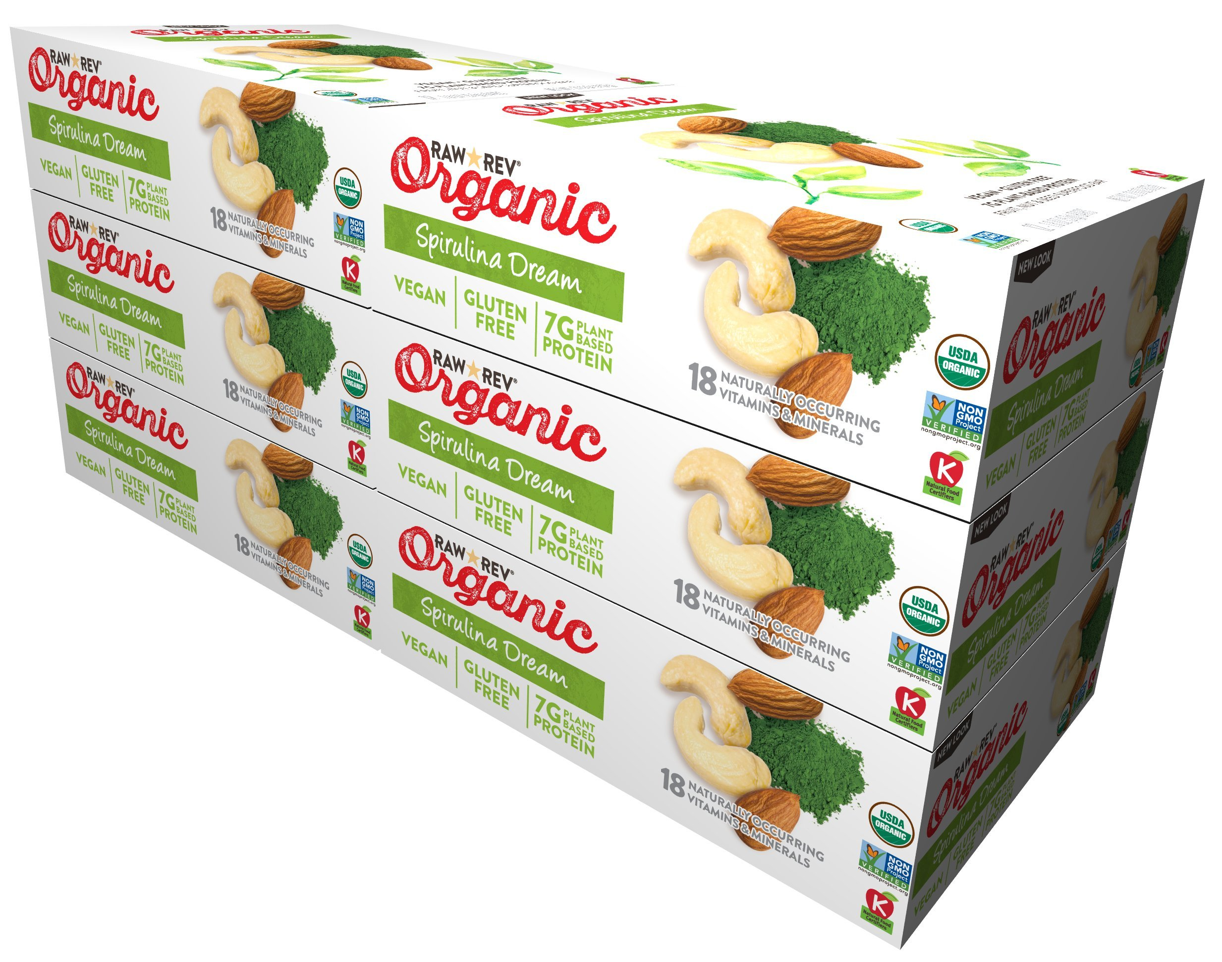Raw Rev Organic Vegan, Gluten-Free Fruit, Nut, Seed Bars – Spirulina Dream 1.8 ounce (Pack of 72)