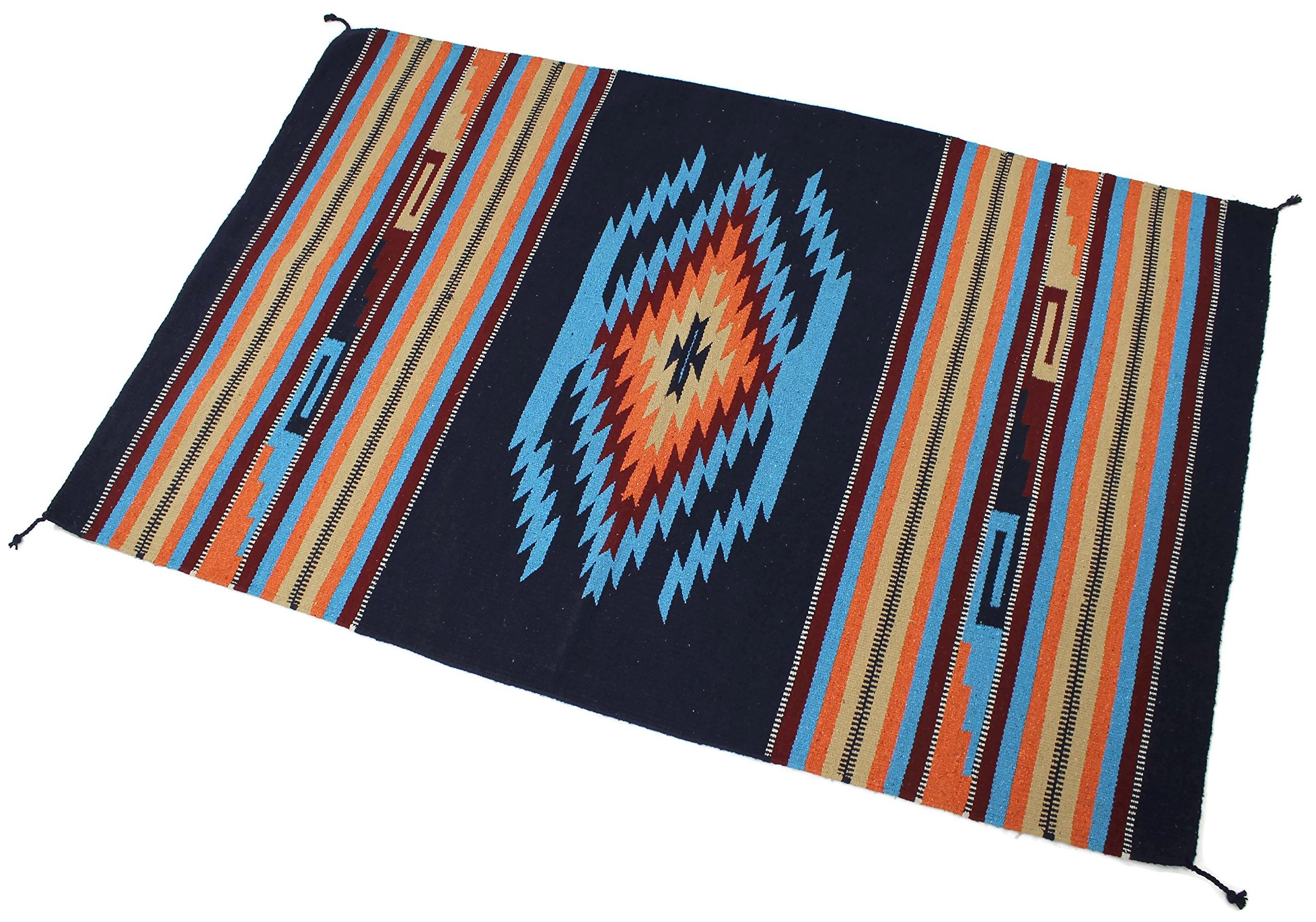 Splendid Exchange Hand Woven Acrylic Southwest Area Rug, 4 Feet by 6 Feet, Jewel Dark Blue