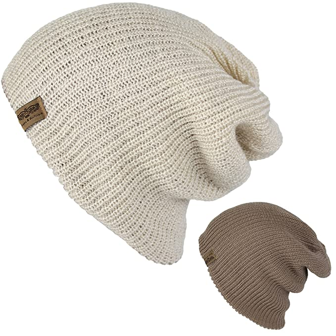 e5053819dd1 Men s Basic Reversible Slouch Beanie- Long Hipster Oversized Ribbed Knit