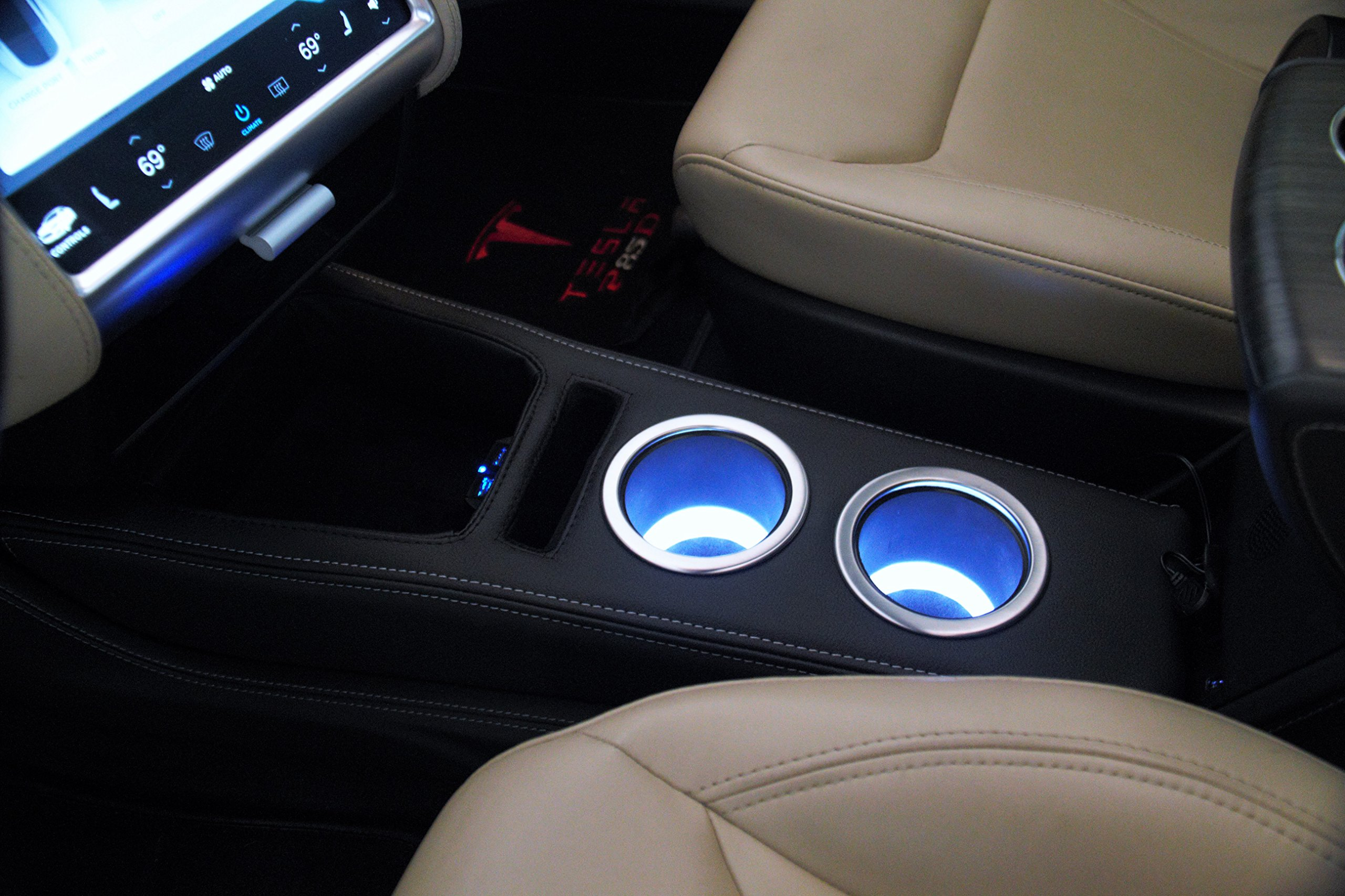EVamped Tesla CCI Premium LED Front Console/Cupholder Low Profile-White LED