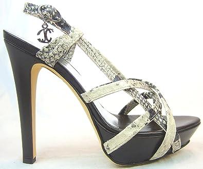Cavalli Plateau-Riemchen-Stilettos Sandaletten Schlangen-Leder creme-weiß Kaufen Online-Shop