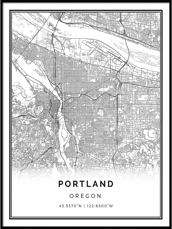 Squareious Portland map Poster Print | Modern Black and White Wall Art | Scandinavian Home Decor | Oregon City Prints Artwork | Fine Art Posters 18x24