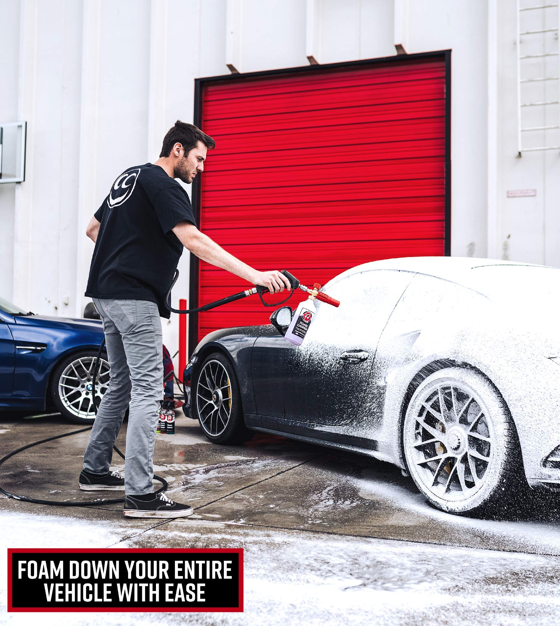 Adam's Red Foam Cannon - Produces Unbelievably Thick Foam - Adjustable Air Intake Valve and Fan Pattern for Optimal Car Washing (Foam Cannon & Snub Nose Combo) by Adam's Polishes (Image #4)