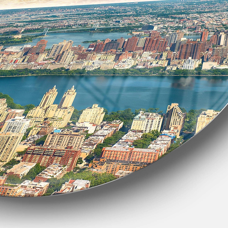23 H x 23 W x 1 D 1P Green Designart Aerial View of Central Park Landscape Photo Circle MT7561-C23-Disc of 23 inch