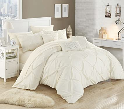 Chic Home 10 Piece Hannah Pinch Pleated, Ruffled And Pleated Complete King  Bed In A