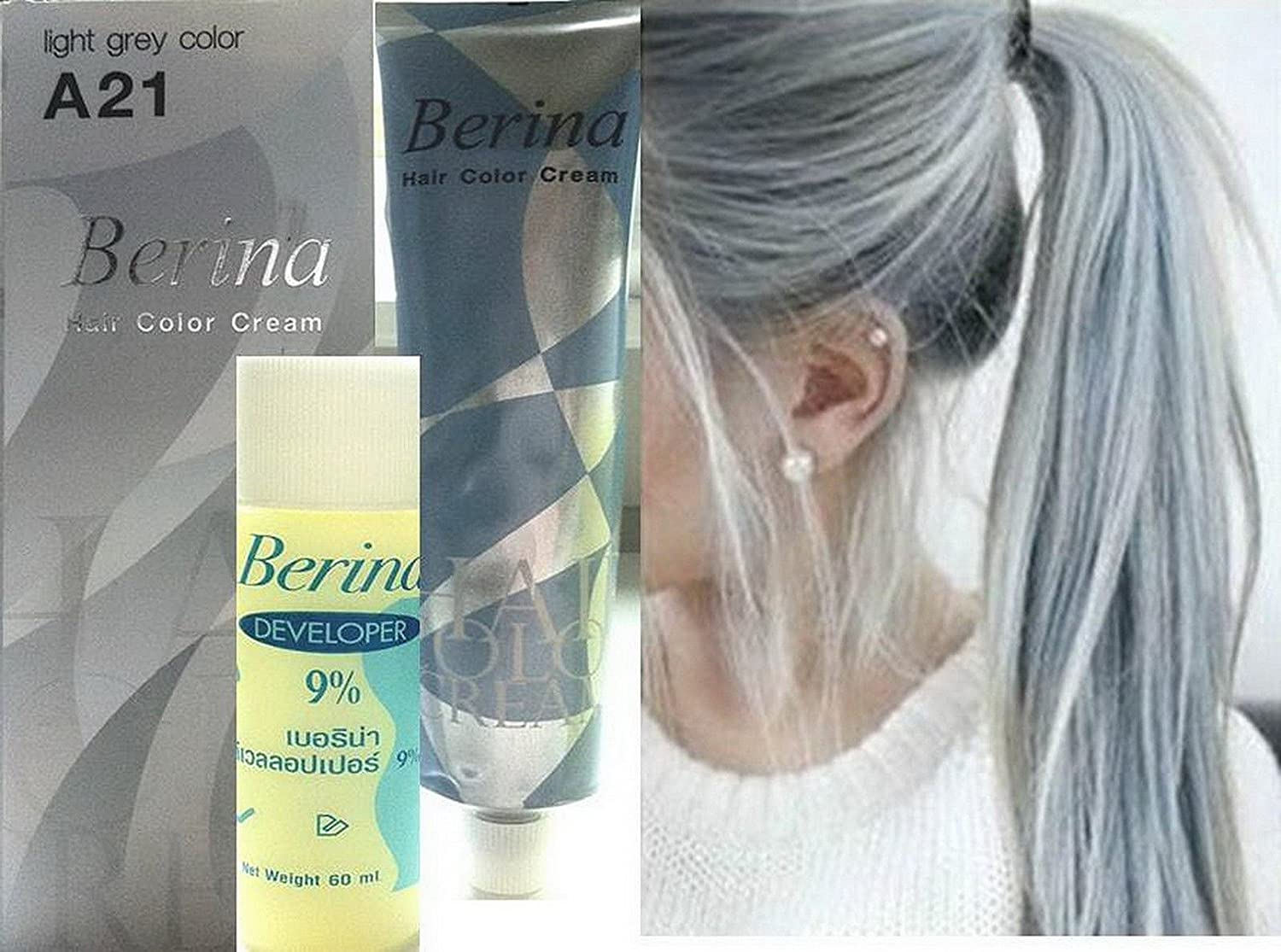 Amazon Hair Colour Permanent Hair Cream Dye Light Ash Grey By