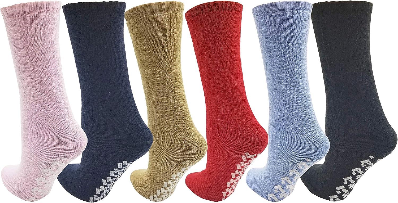 Anti-Slip Slipper Socks, 6 Pairs, Gripper Bottom Indoor House Non-Skid Hospital Sock