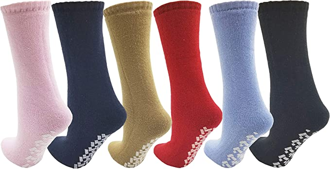 Diabetic Non Skid Slipper Socks //w Grippers for Ladies 4 Pairs Size 9-11