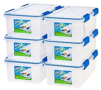 Ziploc WeatherShield 16 Quart Storage Box, 6 Pack, Clear