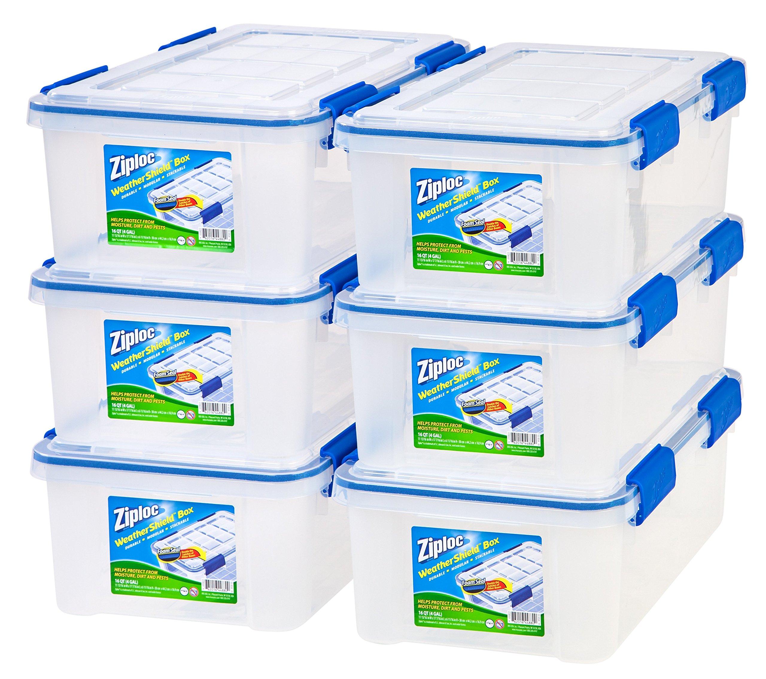 IRIS USA, Inc. Ziploc WeatherShield 16 Quart Storage Box, 6 Pack, Clear