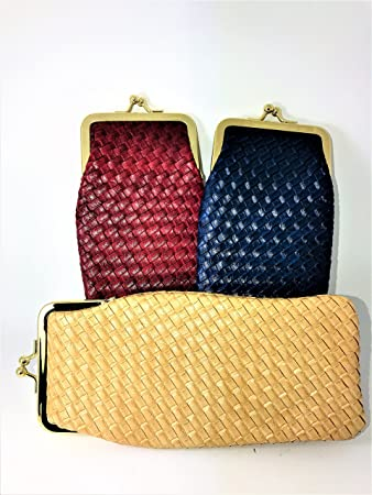 Ladies Soft Specs or Glasses Case  Purse Style Woven Leather