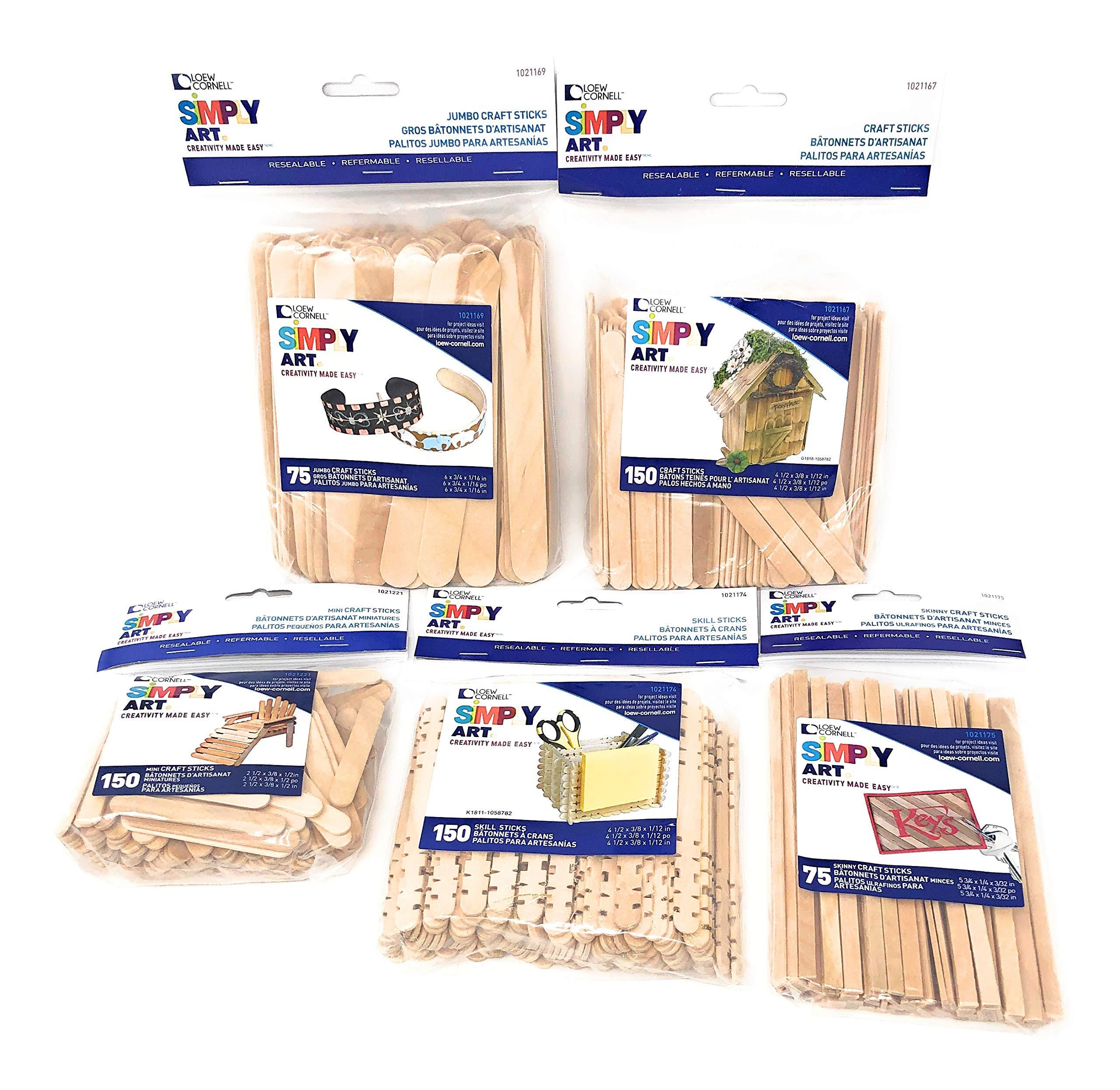 """Loew-Cornell Simply Art Wood Craft Sticks Bundle - Regular Sticks 4.5"""" (150 PCS), Mini Sticks 2.5"""" (150 PCS), Skill Sticks 4.5"""" (150 PCS), Skinny Sticks 5.75"""" (75 PCS), Jumbo Sticks 6"""" (75 PCS)."""